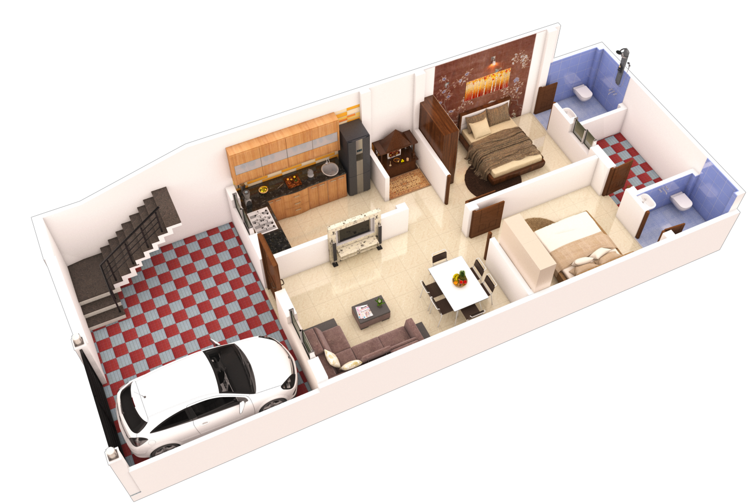 2 BHK East Facing